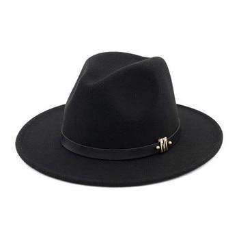 Vintage sombrero fedora negro hombres clásico sombreros invierno jpg  350x350 Lana vintage sombreros ala moda 7b7cef2953d