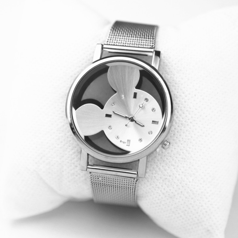 2018 Hot New Casual Watch Hollow With Crystals Clocks Women Luxury Quartz Mesh Band Mickey Women Dress Wristwatch Gift Relogio