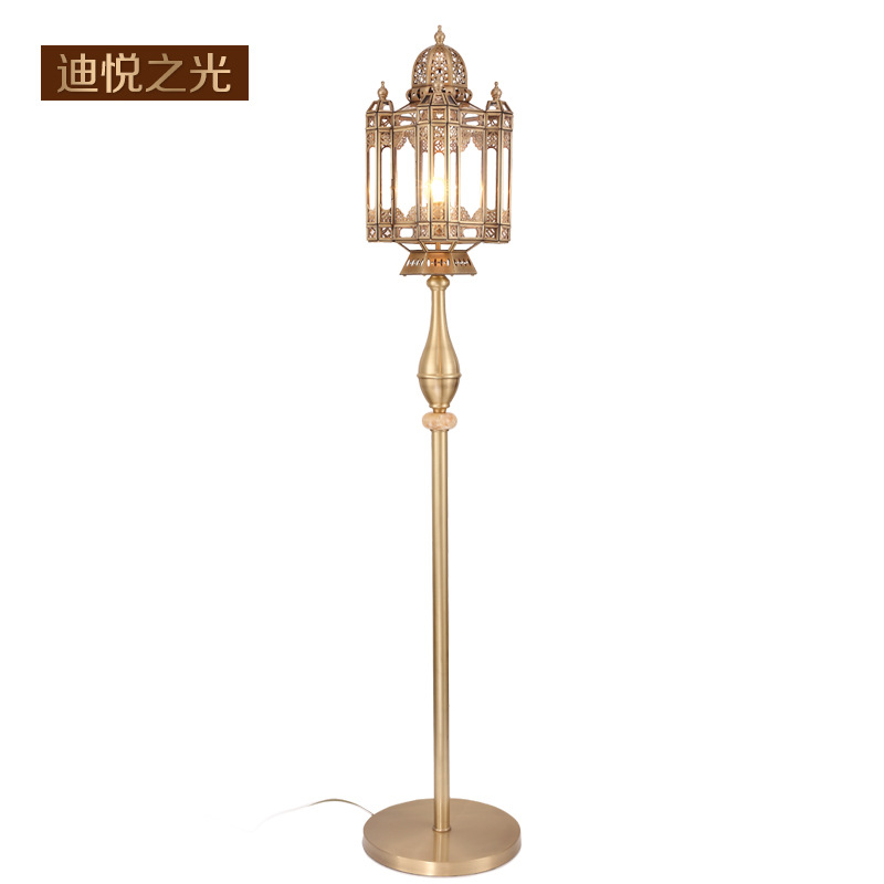European modern copper hollowed out floor lamp led e27 retro vertical floor light hotel restaurant living room bar lighting