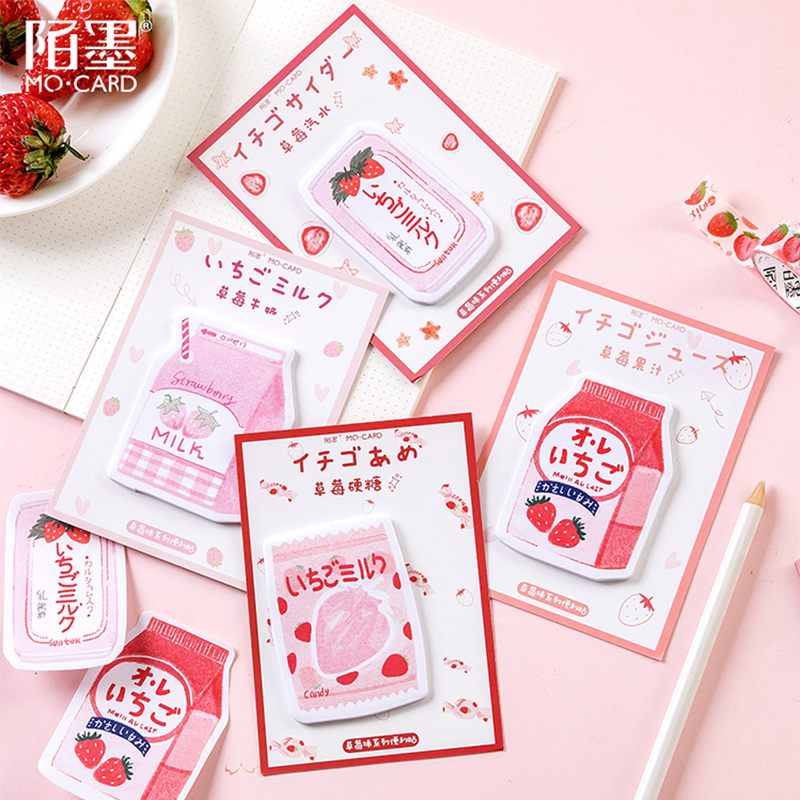 Pink Strawberry Student Leave A Message Memo Pad Planner Sticky Note Paper Sticker Kawaii Stationery Pepalaria 30 Pages