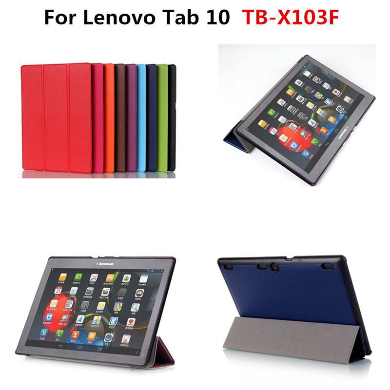 Slim Karst Tri-folding Stand PU Leather Case Cover For Lenovo Tab 10 TB-X103F X103F 10.1 Tablet funda With Magnetic Cover
