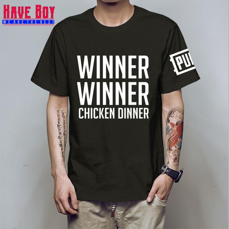 HAVE BOY new world hot FPS game Player unknowns Battlegrounds t shirts PUBG Winner Winner Chicken dinner t shirts HB155