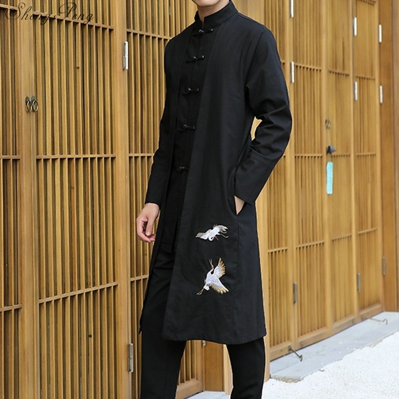 Chinese traditional men clothing oriental costumes traditional chinese clothing for men male clothes long mens coat Q069 Одежда