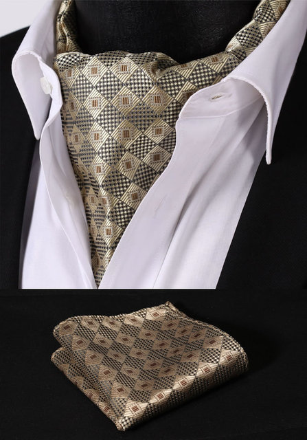 RC205Z Brown Wheat Check Silk Cravat Woven Ascot Tie Pocket Square Handkerchief Suit Set