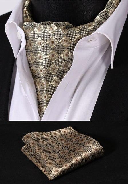 Rc205z коричневый пшеницы проверьте шелковый галстук тканые Ascot галстук карманный площадь платок костюм комплект