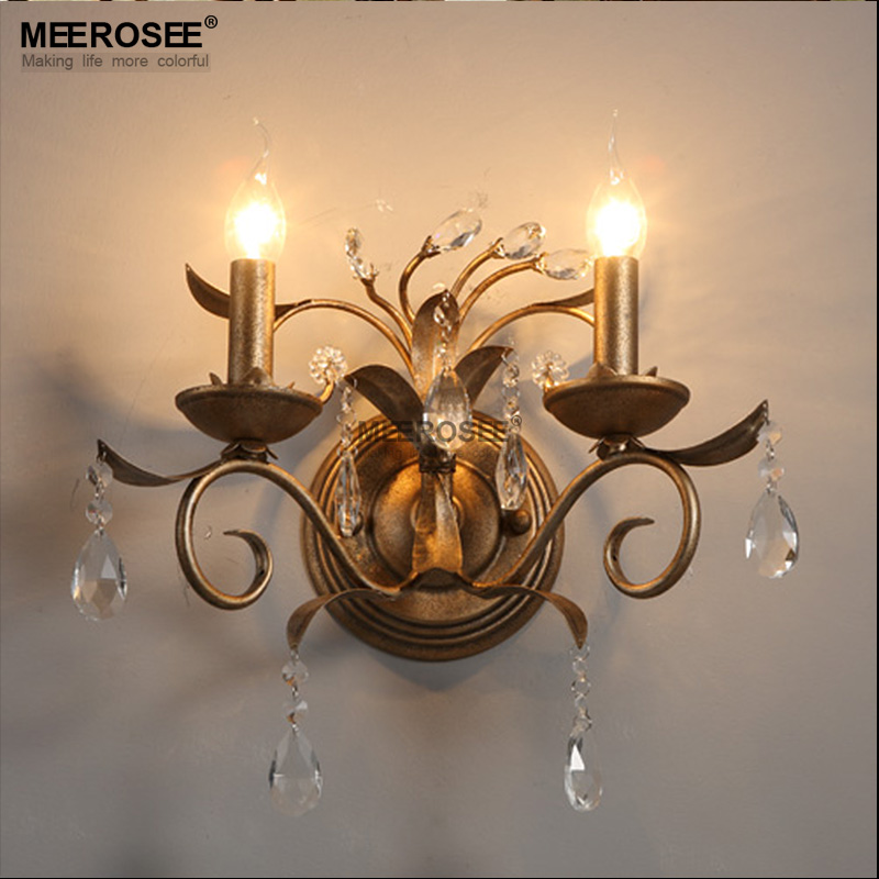 Contemporary crystal wall light lustres reading room wall - Bedroom wall sconces for reading ...