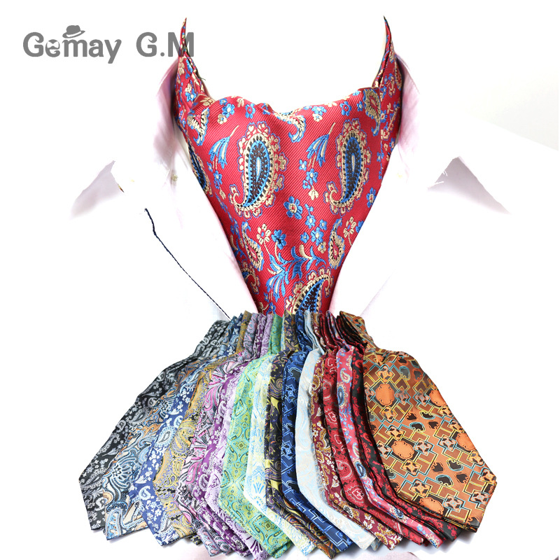 Men Vintage Cashew Floral Wedding Formal Cravat Ascot Scrunch Self British Gentleman Polyester Woven Neck Tie Luxury