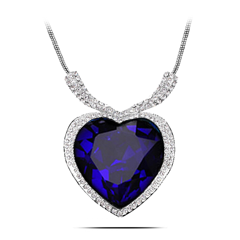 n166 large size titanic heart necklace women silver plated jewelry nickel free crystal necklaces. Black Bedroom Furniture Sets. Home Design Ideas
