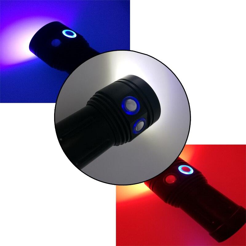 Super luminosité 12000 lumens 10 X CREE XM L2 lampe de poche de plongée professionnelle linternas torche étanche rouge/bleu UV LED - 5