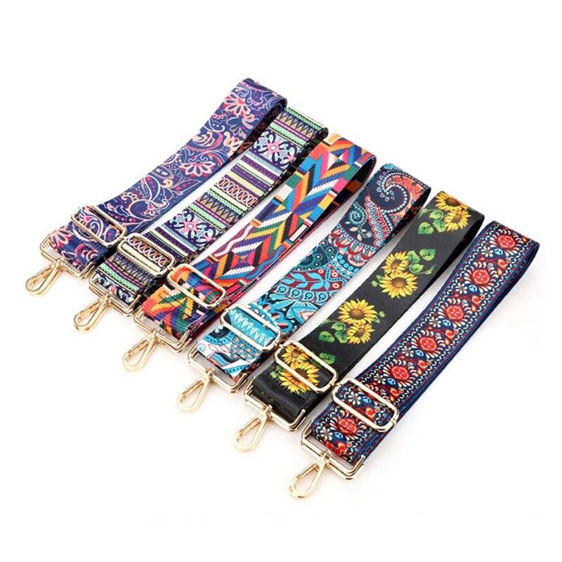Fashion Shoulder Bag Wide Strap Belts Women Handbag Flowers Bag Strap National Wind Adjustable Strap Belts DIY Accessories