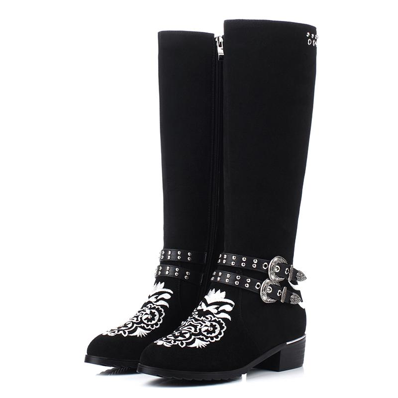 ФОТО New winter fashion brand Embroidery rivets round toe thick heel women Knee-High boots med heel lady shoes warm handmade boots