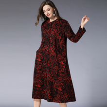 Cotton Basic Dress Winter Autumn Flower Print Plus Size Woman Casual All Match Single Breast Long Sleeve Brand Party Dresses 4xL