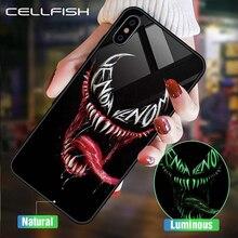 Роскошный светодиодный чехол из закаленного стекла Marvel для iPhone XS MAX XR 6S 7 8 Plus, чехол для телефона с логотипом IronMan, чехол для iPhone 11 PRO MAX 11PRO