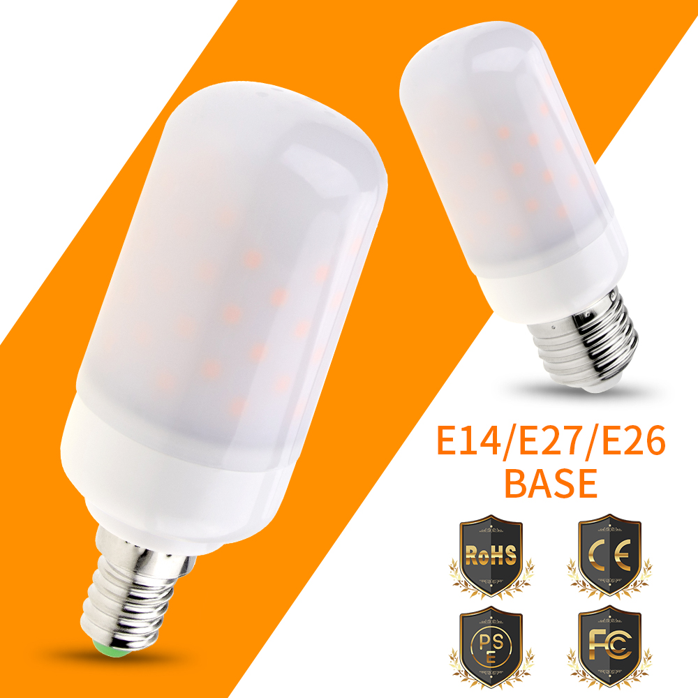 E27 LED Flame Corn Lamp AC85-265V E14 Dynamic Fire Light Bulb 63leds E26 220V Flickering Bombilla For Holiday Decorative SMD2835