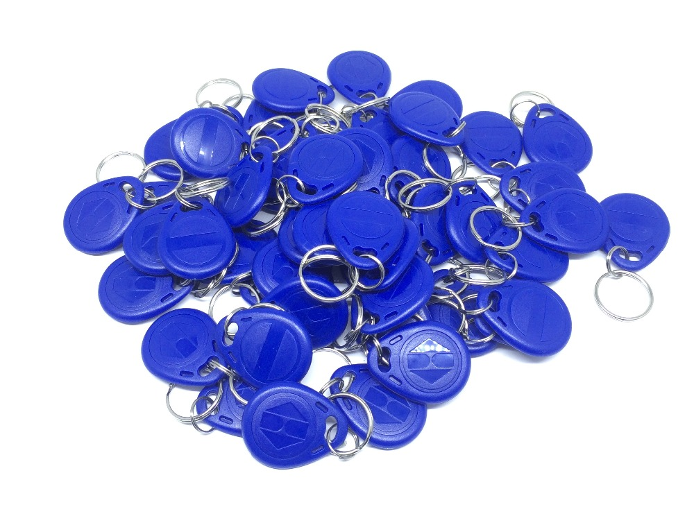 Free Shipping RFID 13.56Mhz keyfob IC Tag Token Key Ring MFS50 IC cards MF1 Blue 100pcs/lot цены