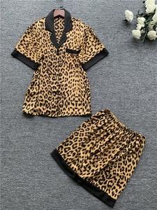 Image 3 - Daeyard pijama de cetim de seda feminina sexy leopardo botão até camisas de manga curta com shorts 2 pcs pijamas dormir lounge nightwear