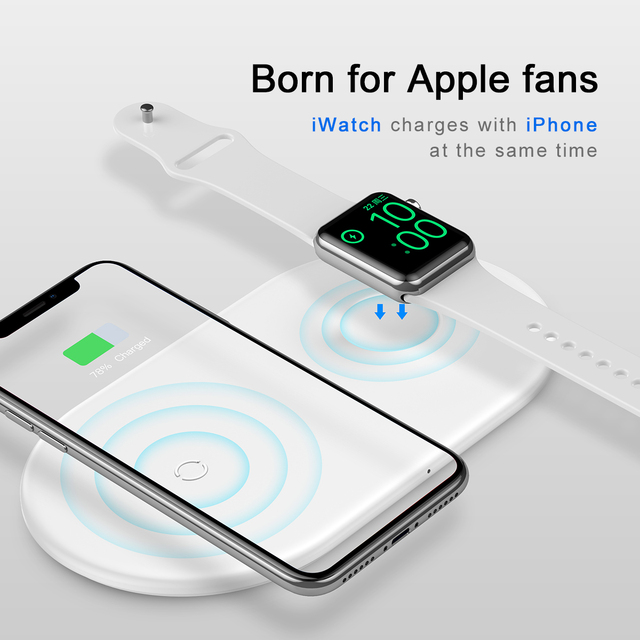 10W 2in1 Qi Wireless Charger For iPhone
