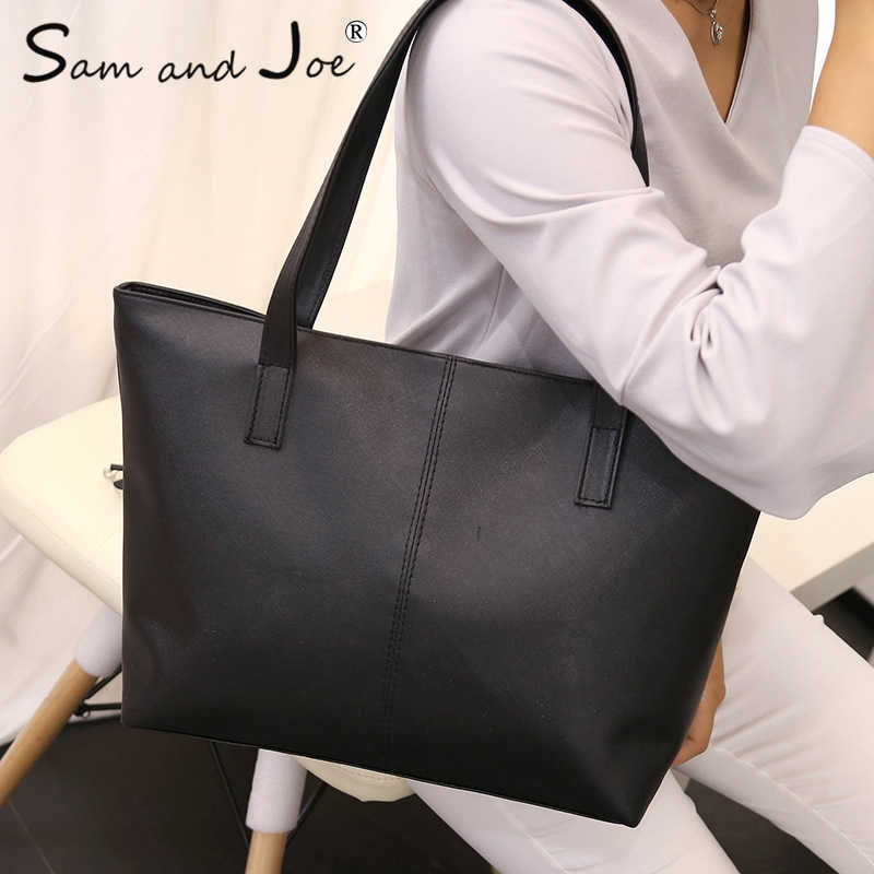 8ef00a24091c Light PU Leather Women Handbags Female Simple Soft Tote Bag Large Capacity Shoulder  Bags Black Red