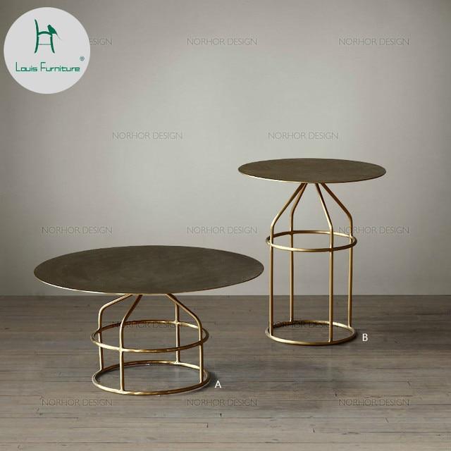 d317cd7fb1 Louis Fashion North European Small Round Golden Tea Table Modern Creative  Coffee Living Room