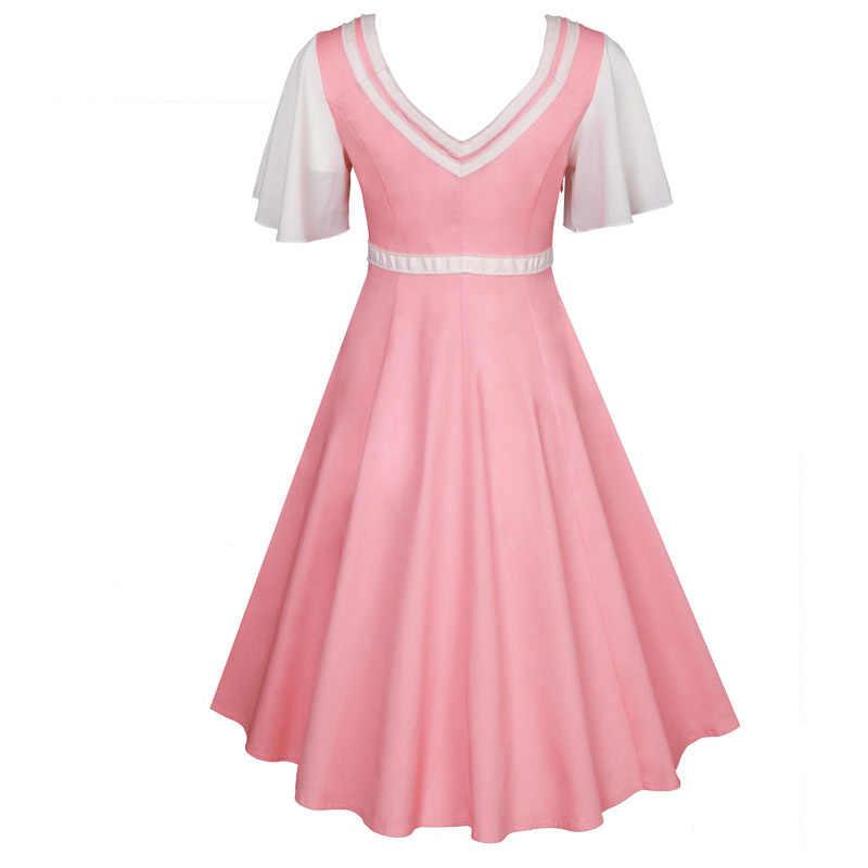 Julyee Vintage pink party sailor dress plus size women patchwork short  Sleeve V-Neck button womens clothing summer midi clothes