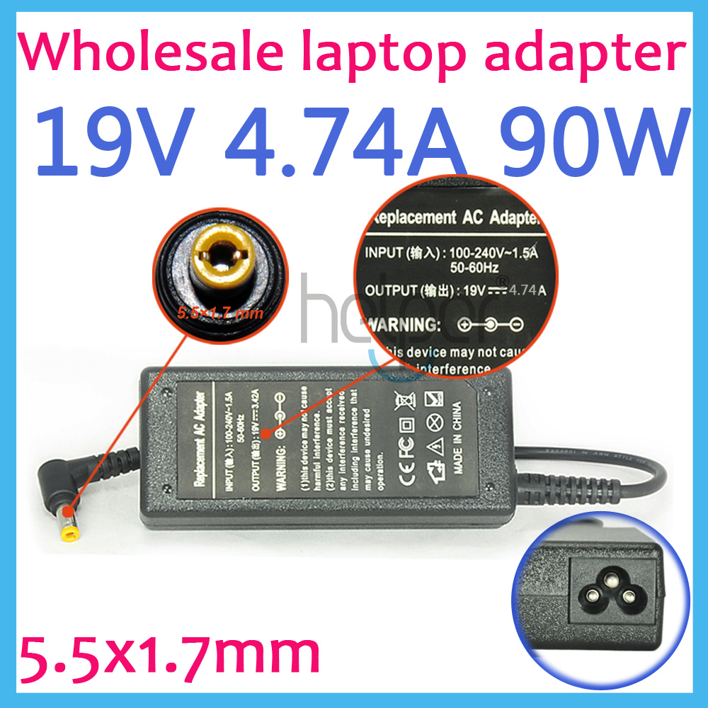 все цены на 19V 4.74A Laptop Ac Adapter Power SUPPLY for Acer AP.09000.001 HIPRO HP-A0904A3 HP-OL093B13P PA-1900-24 PA-1900-04 5.5x1.7mm