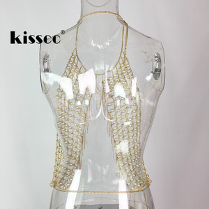Image 5 - Sexy Pearl Metal Tassel Cropped Top Tank Bustier Halter Backless Crop Tops Pearl Metal Chain Tassels Stitching
