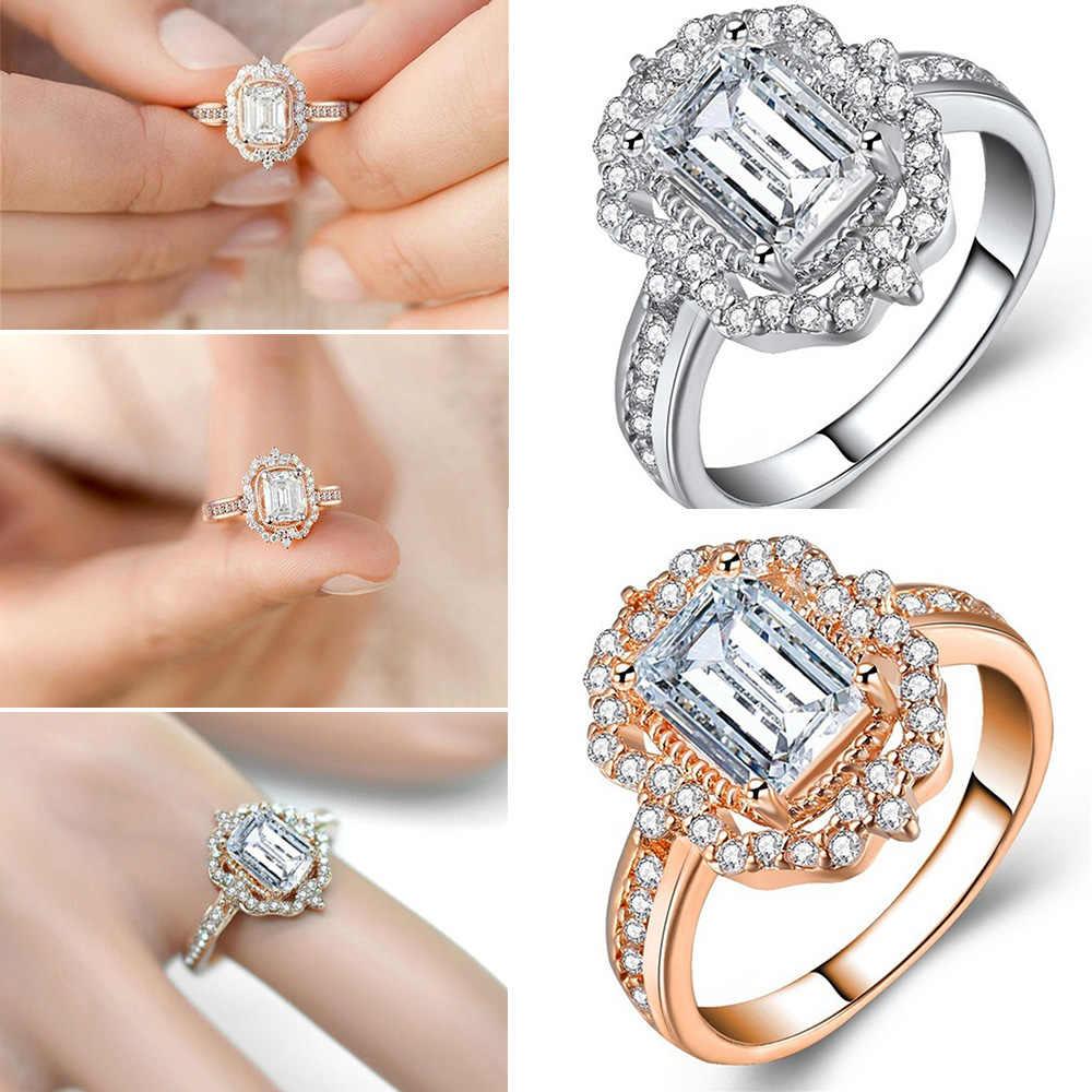 แฟชั่นผู้หญิงใหม่เจ้าหญิงแหวน Rose Gold สีขาวไพลินแหวนหมั้นงานแต่งงานอุปกรณ์เสริมขนาด 6 7 8 9 10