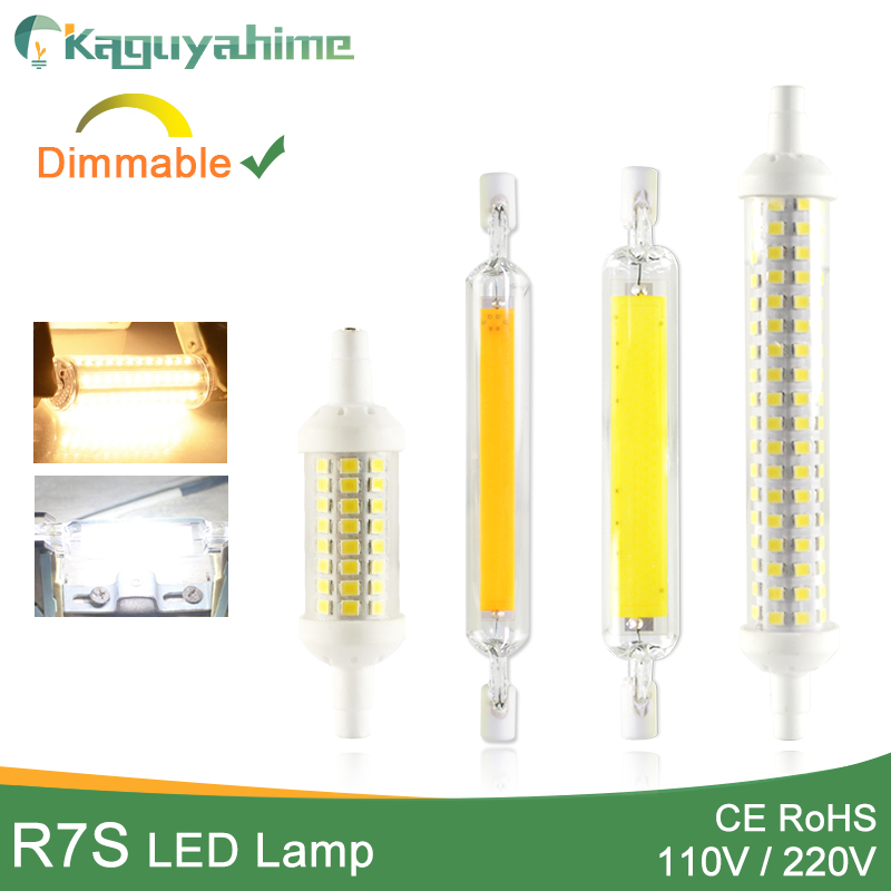 Kaguyahime LED R7s COB Lamp 220V 110V 78mm 118mm 135mm Dimmable LED Bulb 2835 SMD Lamp Replace Halogen Light R7S Spotlight Bulb