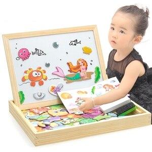 Image 2 - Multifunzionale di Legno Magnetico Giocattoli Per Bambini 3D Giocattoli di Puzzle Per Bambini di Educazione Animale di Legno della Lavagna Bambini Giochi Di Disegno