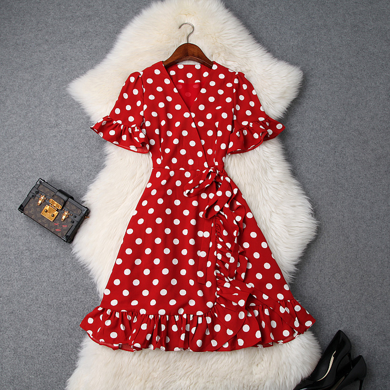 Office Lady Dress xl 2019 NEW Runway Spring summer Sweet Print Dot Bow dresses Women Clothing