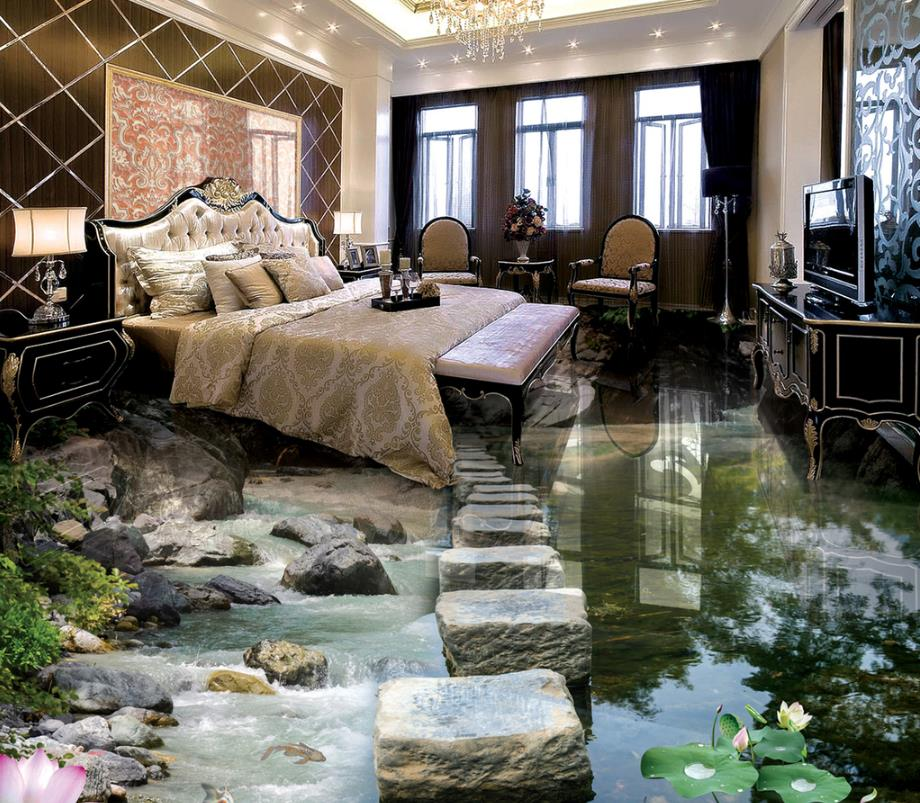 Modern 3d Wallpaper For Living Room Bridge Lotus Stone Vinyl Flooring Bedroom Flooring Waterproof Custom free shipping river stone waterfalls 3d floor tiles wear non slip moisture proof bedroom living room kitchen flooring mural