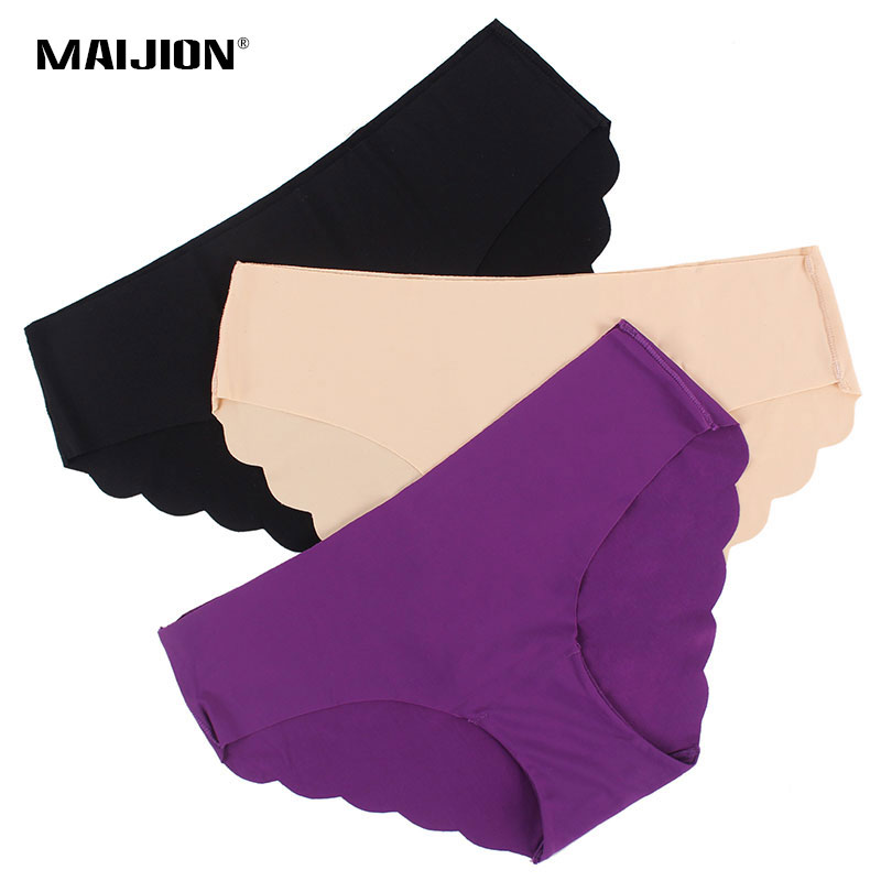 MAIJION 3 pcs/lot Nouvelles Femmes de Culottes Sexy Sans Soudure Ultra-mince mémoires, D'été Style De Mode Traceless Sous-Vêtements Triangle culottes