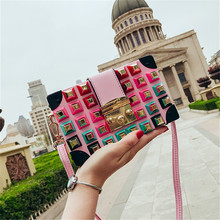 Famous brand rivet box handbags mini Cube Brand original design crossbody bags for women messenger bags