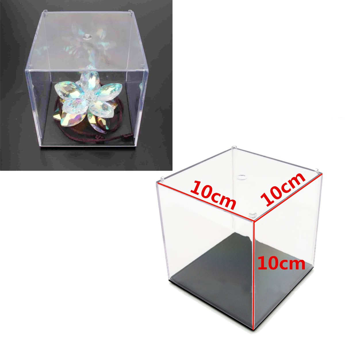 mini clear acrylic plastic display box case dustproof tray protection cube 3 9 10cm children. Black Bedroom Furniture Sets. Home Design Ideas