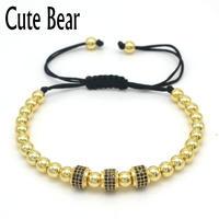 Urso bonito Da Marca Men Charm Bracelet Pave Definir CZ Preto Tubular redondo 6mm Contas de Cobre Tecer Pulseiras de Corda Moda Masculina jóias