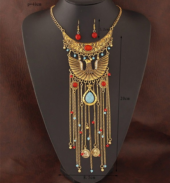 Bohemian Antique Statement Necklace Earrings Women Boho Jewelry Sets Gypsy Phoenix Long Tassel Coin Turkish Joyeria