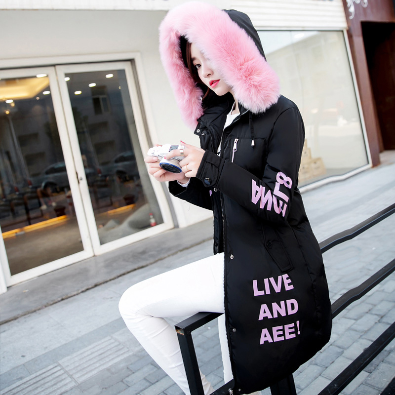 Women Big Size Winter Coats Printed Letter Big Fur Long Sleeve Oversize Wadded Parkas Hooded Jackets Outwear Mujer MZ1073