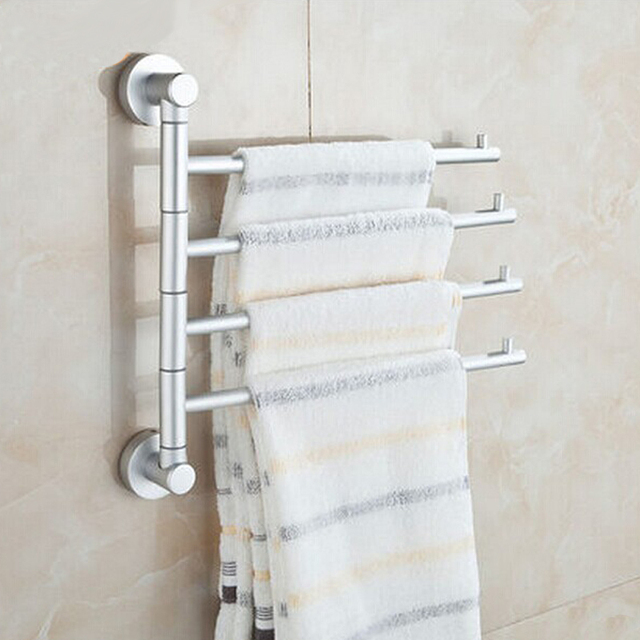 Buy solid space aluminium wall mounted bathroom 4 bars swivel towel rack holder - Towel racks for small spaces concept ...