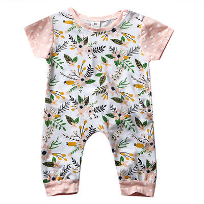 Summer Newborn Infant Baby Girl Romper Short Sleeve Floral Romper Jumpsuit Outfits Sunsuit Clothes newborn infant baby clothes girl lace strap floral romper jumpsuit headband 2pcs summer baby girl romper clothes baby onesie