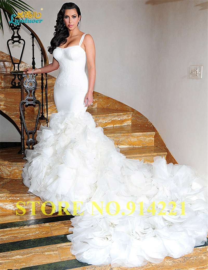 Special offer spaghetti strap vestido de noiva romantic for Mermaid wedding dresses on sale