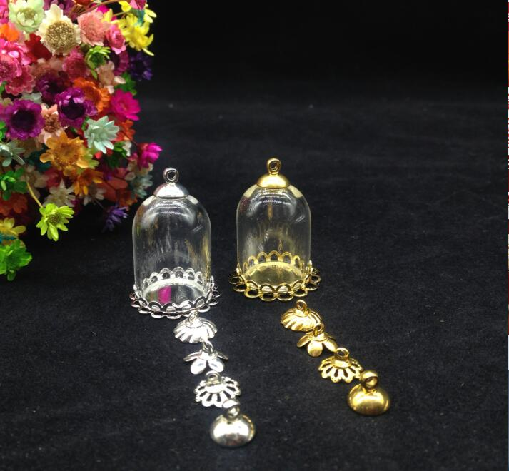 100sets/lot 25*18mm Tube Glass Globe Lace Tray Beads Cap Set Glass Vial Pendant Glass Cover Dome Necklace Pendant Cute Charms Available In Various Designs And Specifications For Your Selection