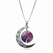 2018 New Fashion Glass Moon Statement Female Necklace Vintage Silver Color Jewelry Life Tree Art Picture Pendant Necklaces Women