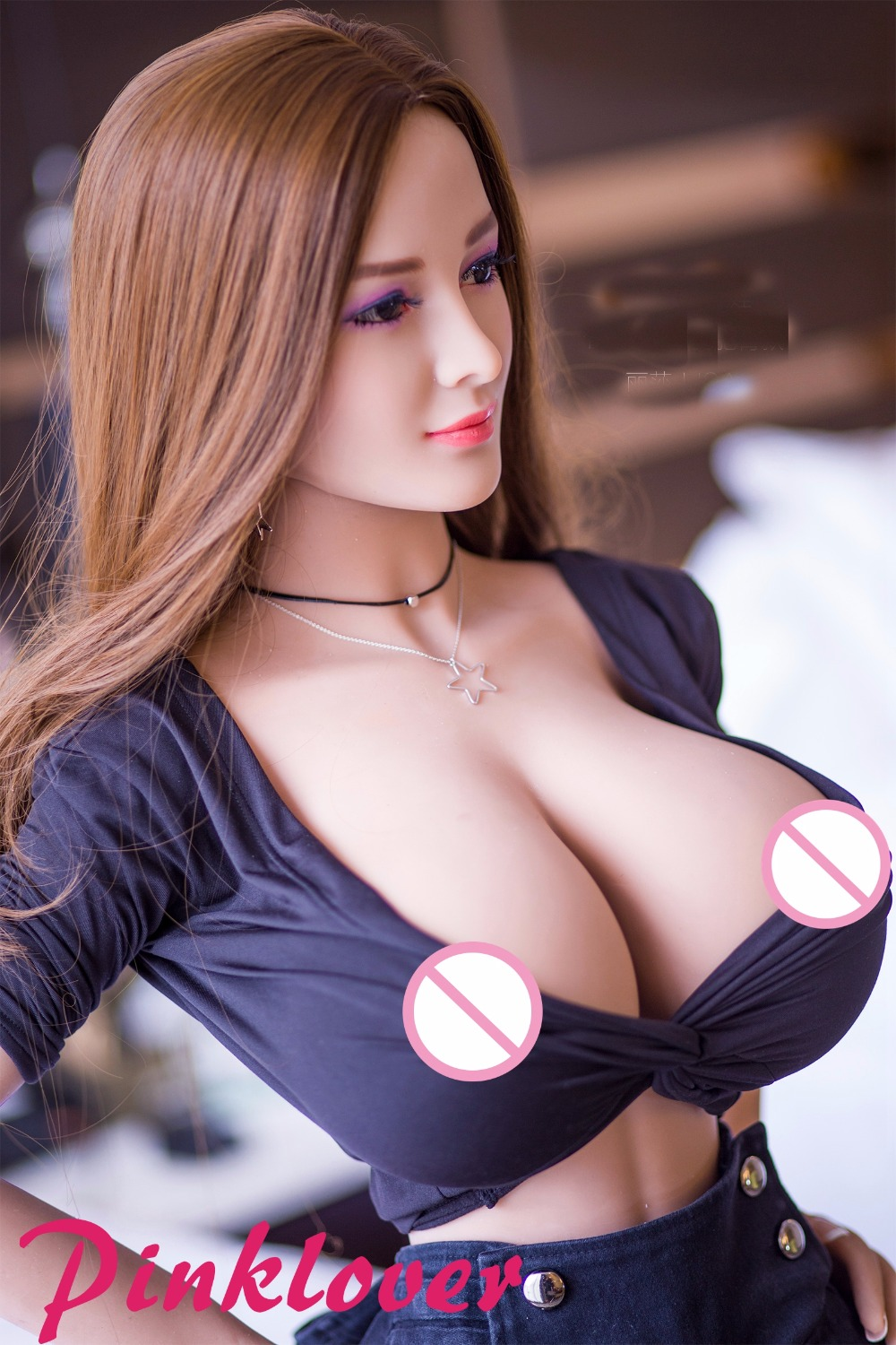 Pinklover Thin Waist Big Breasts 153cm Sex Dolls Real TPE Silicone lady For Men