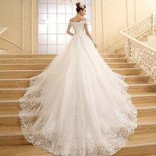 Fansmile גבוהה באיכות בציר תחרה ארוך רכבת שמלות כלה 2020 Vestido דה Noiv בתוספת גודל כלה שמלת חתונת שמלות FSM 151T