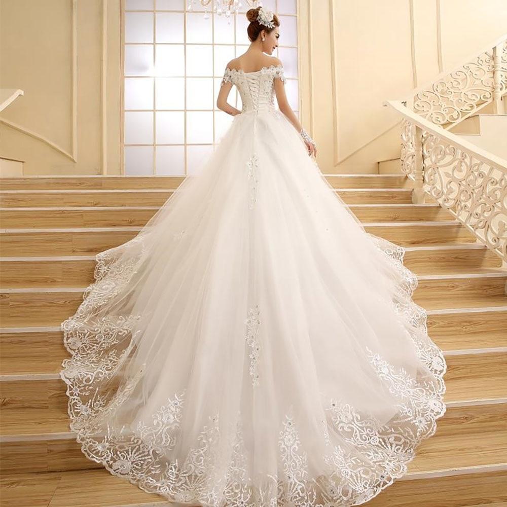 Fansmile High Quality Vintage Lace Long Train Wedding Dresses 2019 Vestido De Noiv Plus Size Bridal Dress Wedding Gowns FSM 151T-in Wedding Dresses from Weddings & Events