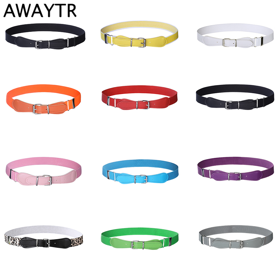 AWAYTR New Candy Color Elastic   Belt   for Kids PU Pin Buckle   Belt   Child Elastic   Belts   Toddlers Leopard Stretch   Belts   Boys Girls