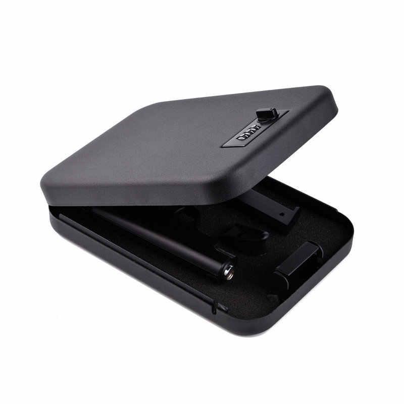 ปืนปลอดภัยกล่องกระสุนโลหะตู้นิรภัยล็อคกล่องกระสุนสามารถตู้เซฟ keybox แบบพกพา strongbox กล่องความปลอดภัย key รถ