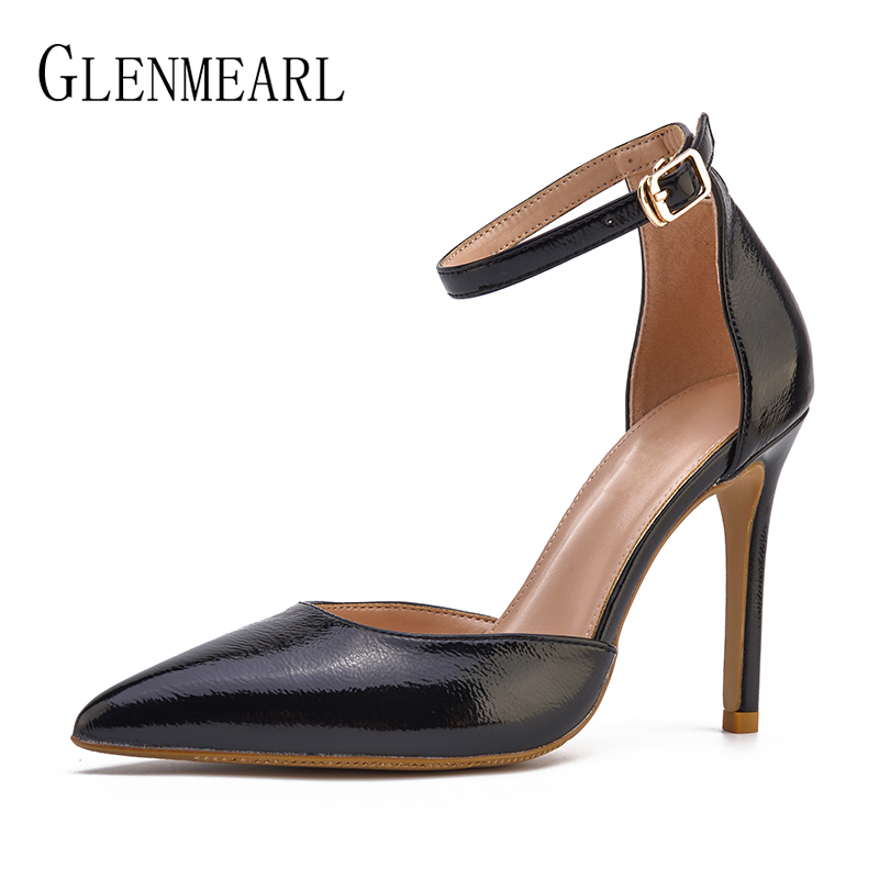 Brand Women Pumps High Heels Wedding Shoes Female Pointed Toe Newest Ladies Shoe Thin Heel Buckle Strap Shoes Woman Plus Size DE black square heel pointed toe hollow shoes women buckle strap fashion ankle strap high heels pumps white summer plus size ladies