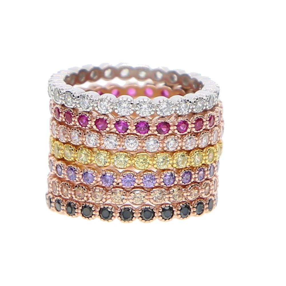 Taille 5-9 différentes couleurs haute qualité 925 argent sterling mode cz éternité pile anneaux en argent