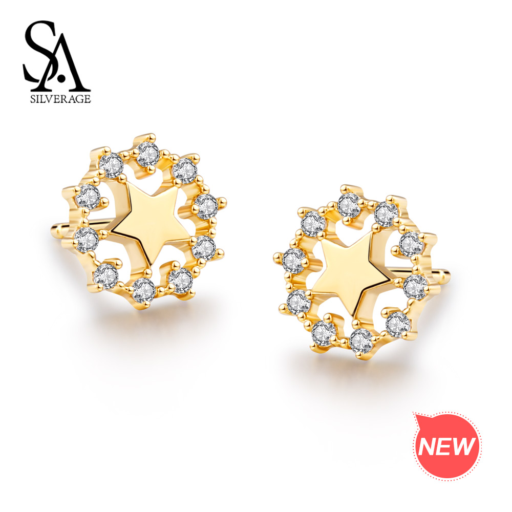 SA SILVERAGE 925 Sterling Silver Gold Plated Star Stud Earrings for Women AAA Zirconia Womens Fashion Earrings Gemstone Earrings starry pattern gold plated alloy rhinestone stud earrings for women pink pair